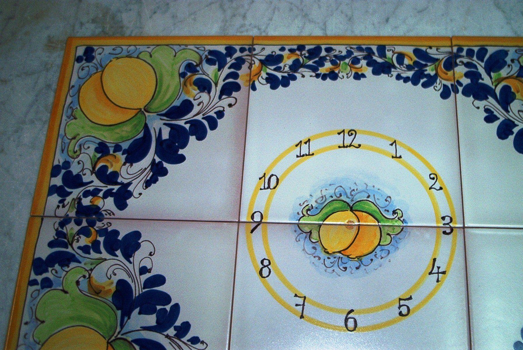 Pannello 15x45 orologio con limoni in maiolica ceramiche artistiche