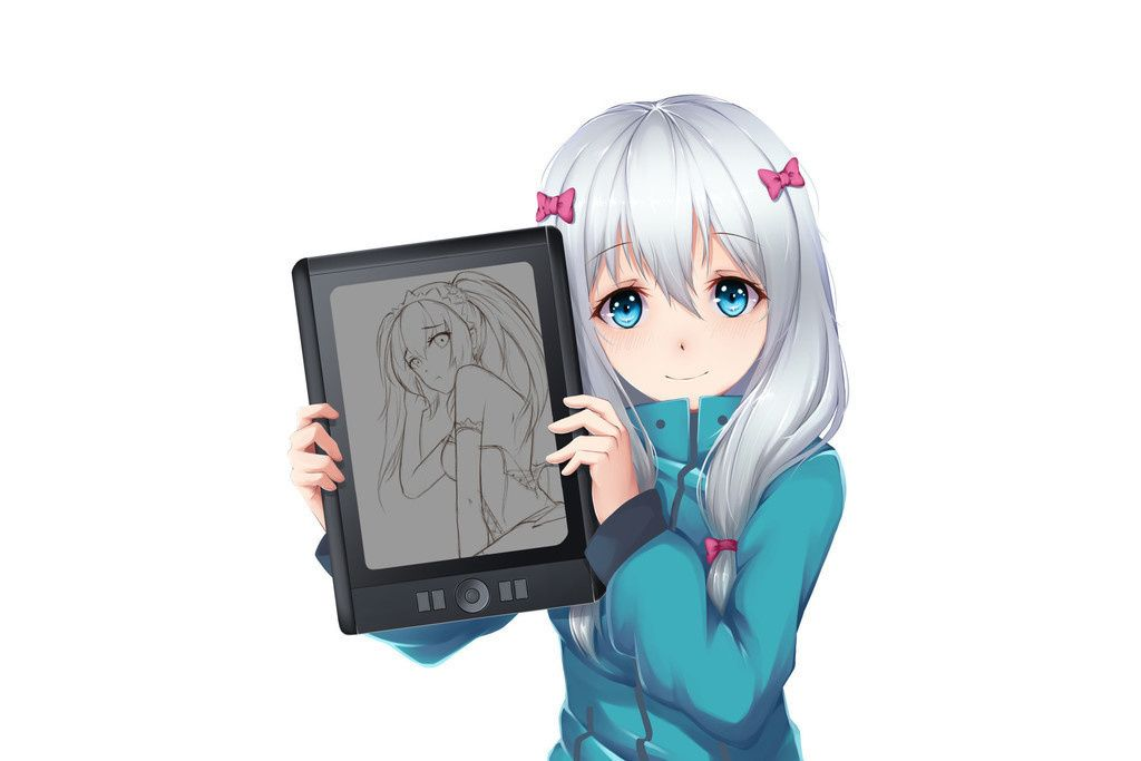 White Hair Anime Girl Sagiri Izumi Tablet Wallpaper