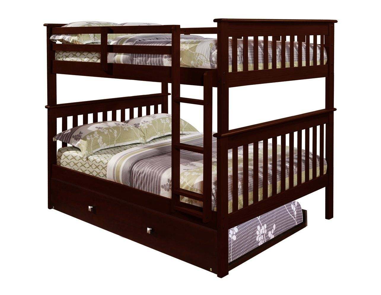 Bunk Bed Full Over Full With Trundle In Cappuccino 539 Amazon Bunk Beds Bunk Beds With Stairs Double Bunk Beds