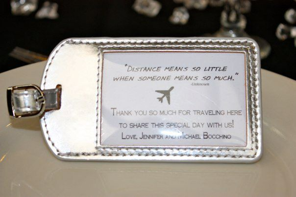 Long Distance Relationship Wedding Invitation: Luggage Tags As Favors!! Love This