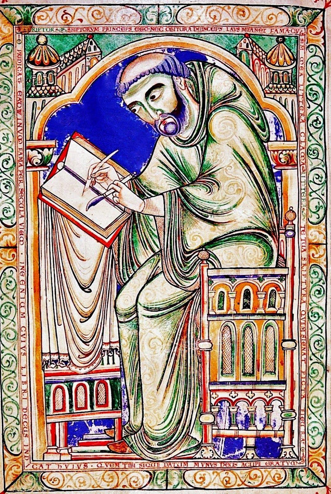 El Escriba Eadwine Al Trabajo Circa 1160 70 Eadwine Psalter