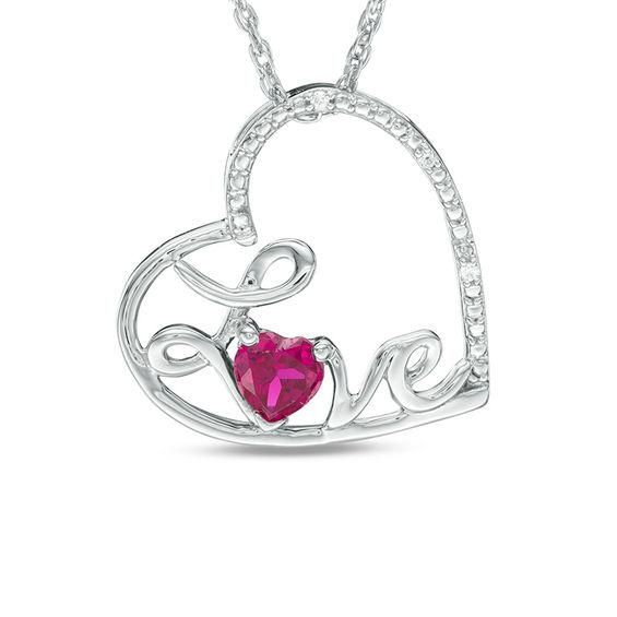 Zales Mothers Birthstone and Diamond Accent Sweeping Heart Pendant in Sterling Silver (2-4 Stones) alY64TB
