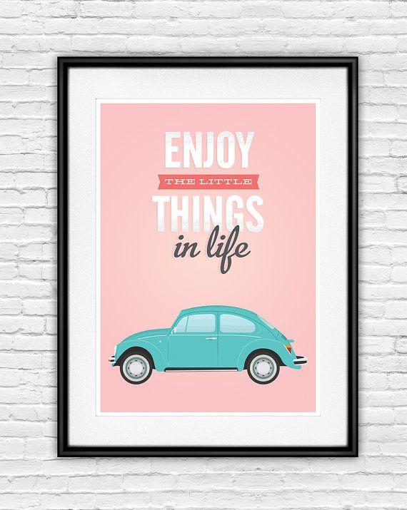 Inspirierende Angebot, VW Käfer, Leben Zitate, Retro Print, Home Dekor,  Zitat