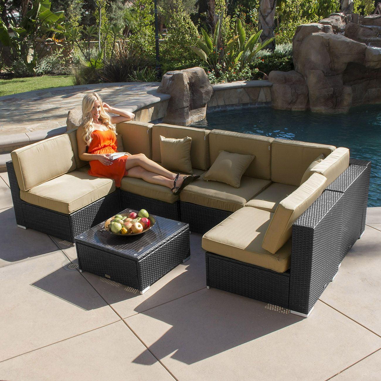 7pc Outdoor Patio Rattan Wicker Furniture Aluminum Sectional Sofa