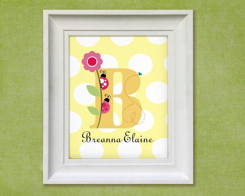 Nursery Art Print - Ladybug Monogram 11x14 Personalized Baby Room ...