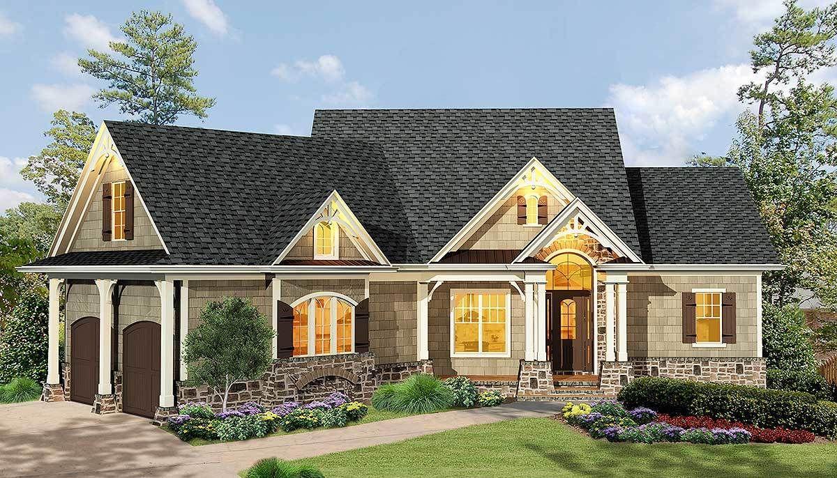 Plan 15884ge Gabled 3 Bedroom Craftsman Ranch Home Plan With Angled Garage Craftsman House Plans Craftsman Style House Plans Ranch House Plans