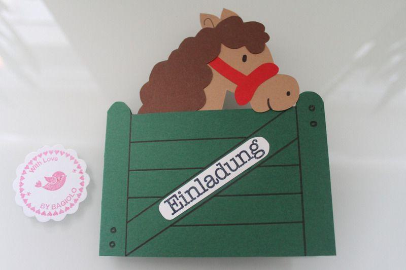 foto- lichttüte = karte | kindergeburtstag pferde, Einladungsentwurf