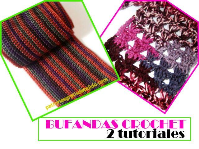 2 tutoriales de bufandas crochet   Crochet y Dos Agujas   Pinterest ...