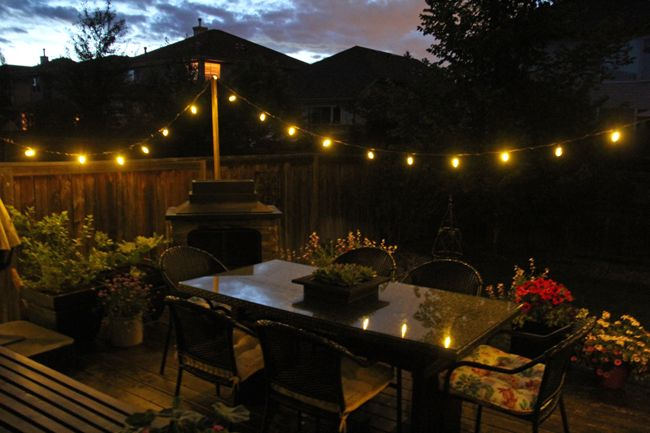 String Patio Lights Prepossessing Easy Diy Patio Lights A Pretty Life5  Wedding  Pinterest  Backyard