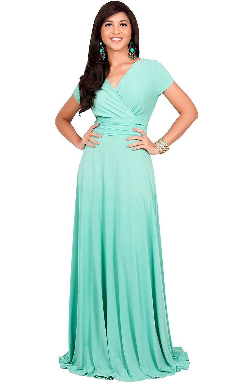 KOH KOH Womens Long Sexy Cap Short Sleeve V-neck Flowy Cocktail Gown ...