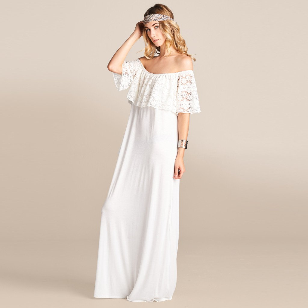 b43c401abc3 Ruche Lace Off-Shoulder Maxi Dress