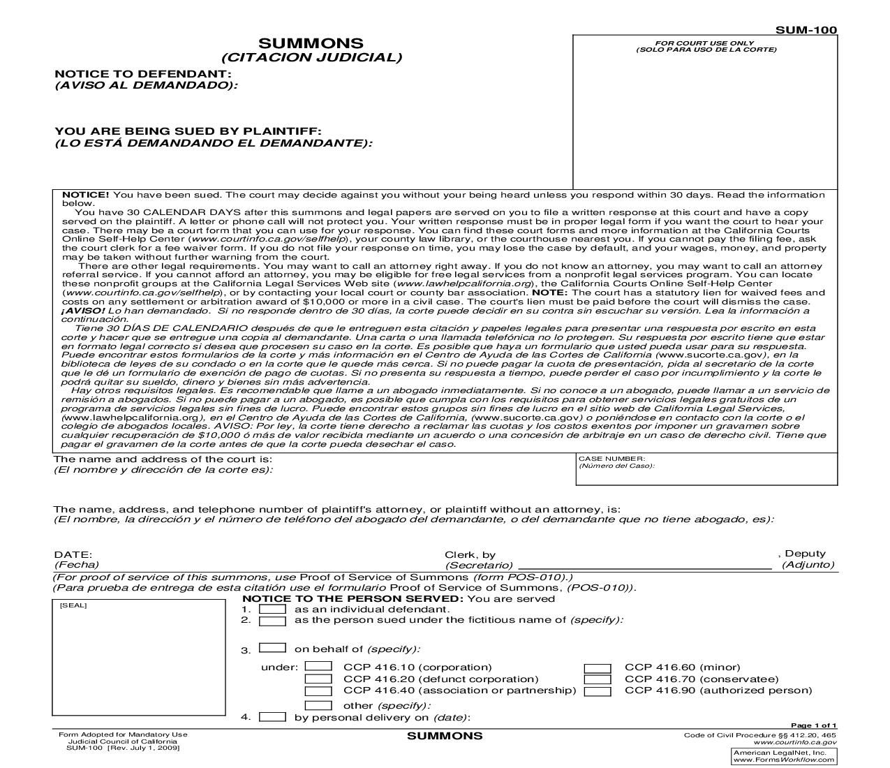 This Is A California Form That Can Be Used For Summons Within Judicial Council Download This Form For Free Now Cali Resume Examples Judicial Adoption Papers