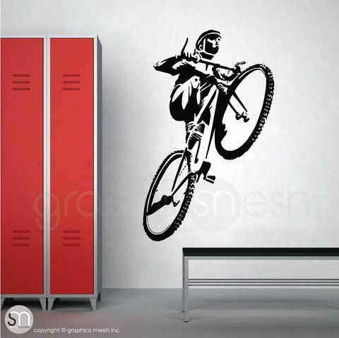 Mountain Bike Jumping Sports Wall Decal Sports Wall Decals