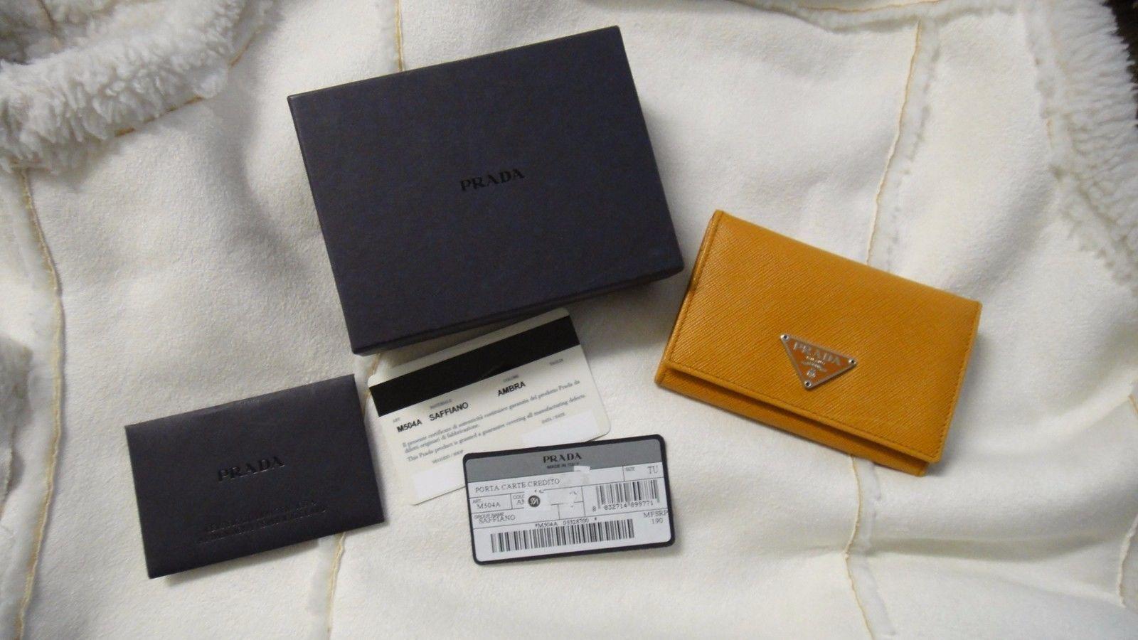 PRADA Credit Business Card Holder Wallet Light Brown Amber   Men\'s ...
