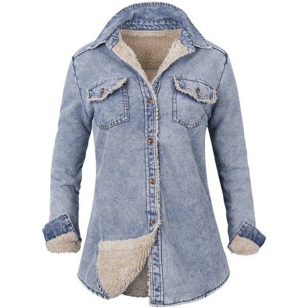 ililily Howels Women Denim Shirt Faux Fur Lined Casual Soft Jacket ...
