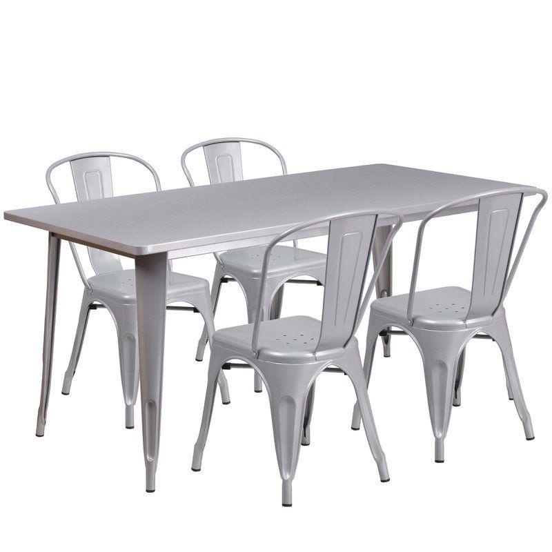 Corrado 5 Piece Dining Set Outdoor Table Settings Metal Table Outdoor Tables