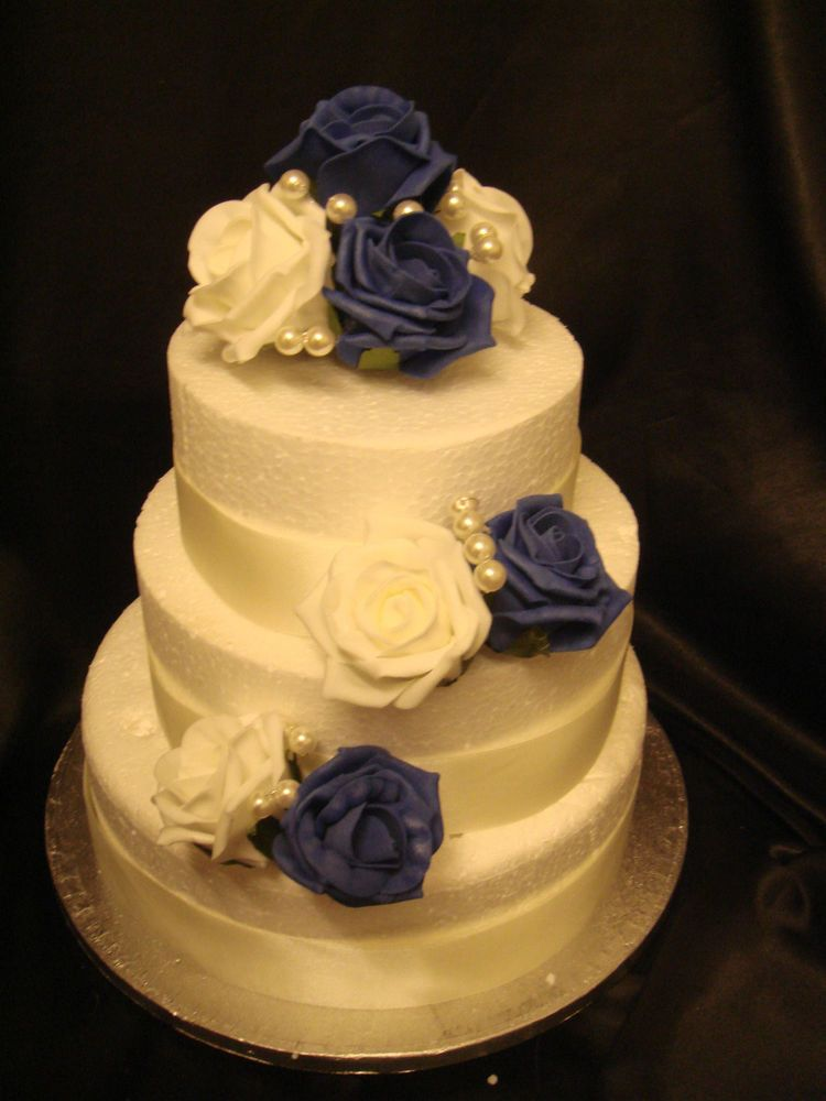 wedding cake topper royal blue rose white rose pearl set cake pick ...