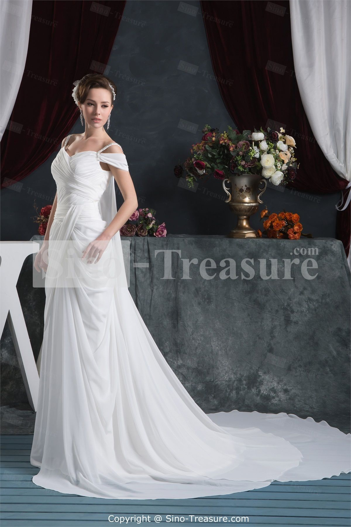 Wedding dress images  White Pear Sheath Column Offtheshoulder Chapel Train Wedding