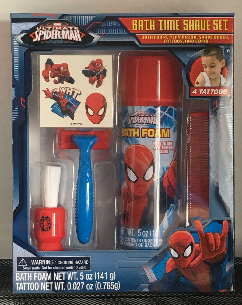 Marvel Spiderman Bath Time Shave Set Kids Play Razor Brush Comb ...