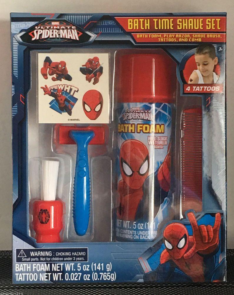 Marvel Spiderman Bath Time Shave Set Kids Play Razor Brush Comb Tattoos 5  Piece #Marvel