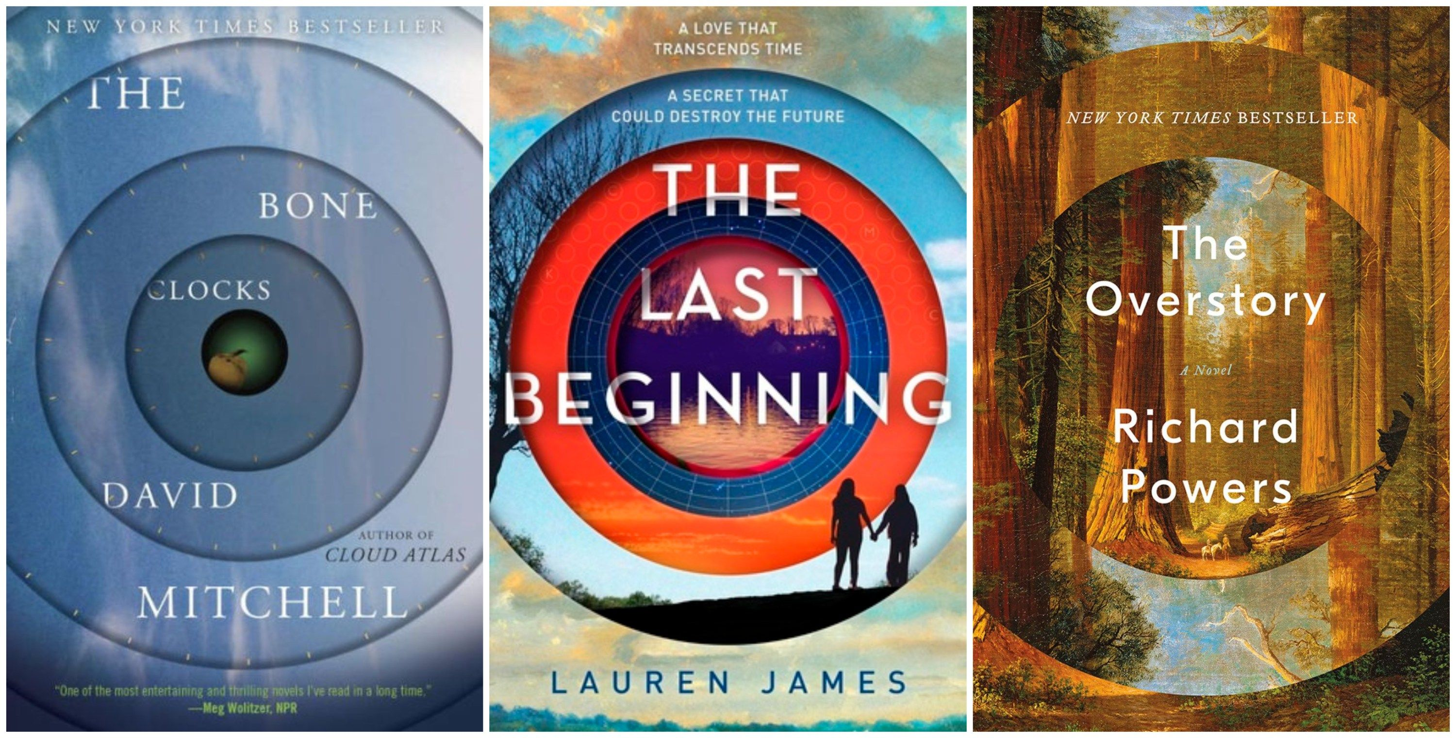 Cover Trend Alert: Hypnotic Circles The Bone Clocks by David Mitchell; The  Last Beginning, by Lauren James; The Overstory, by Richard Powers