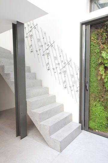 escalier beton et poteau ipn sous sol pinterest stair handrail and banisters. Black Bedroom Furniture Sets. Home Design Ideas