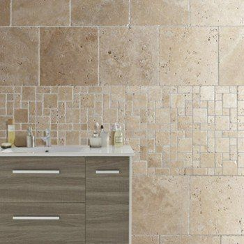 Travertin sol et mur beige effet pierre travertin l.40.6 x L ...
