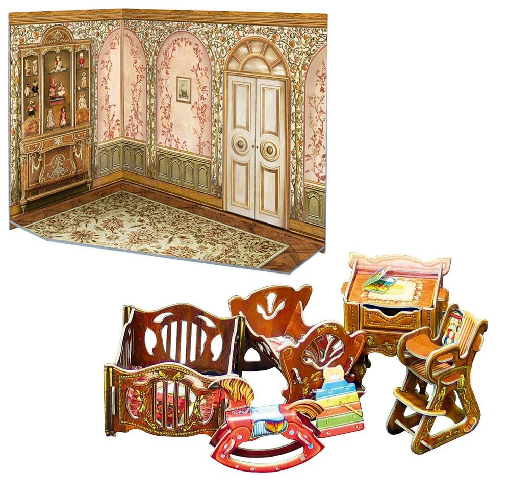 Doll 1:12 miniature set manege, cot, rocking horse,high chair, table /291-2,274 #UmBum