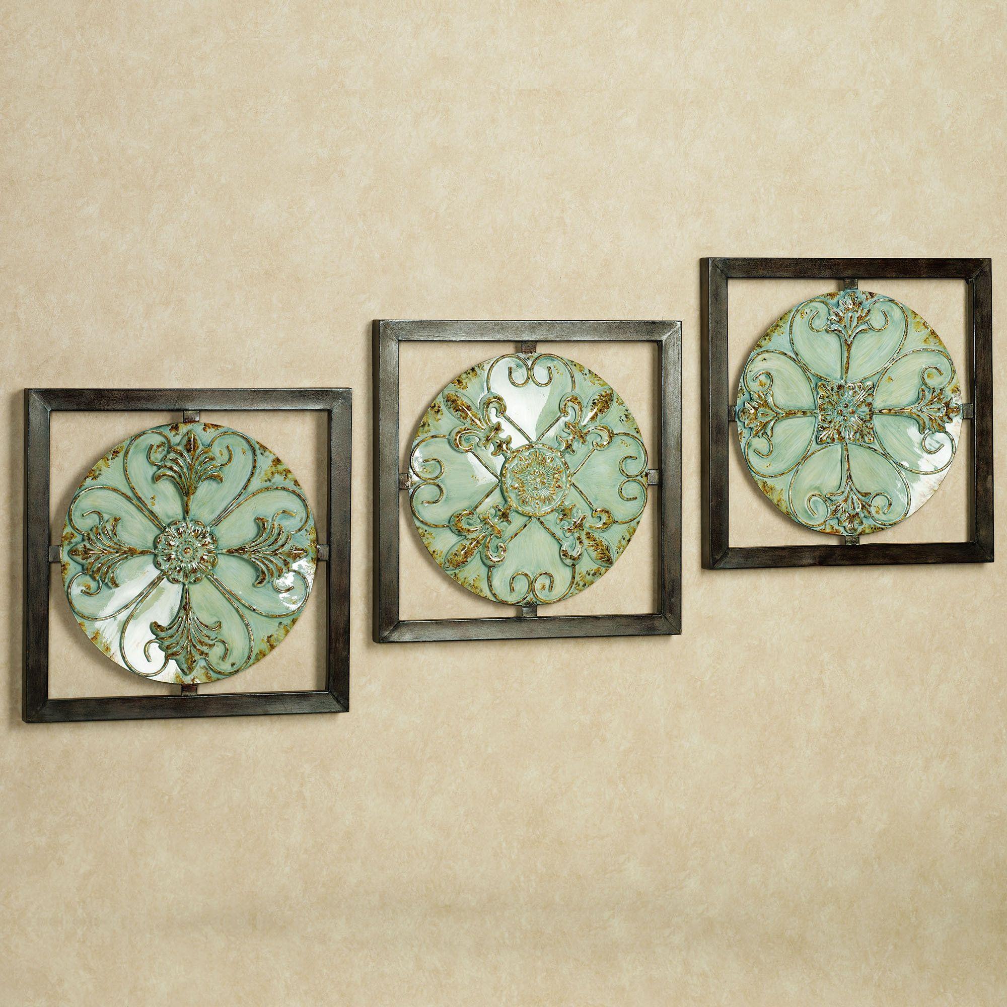 bedroom wall plaques. Caprinia Medallion Plaque Set Aqua Ice Of Three Bedroom Wall Plaques