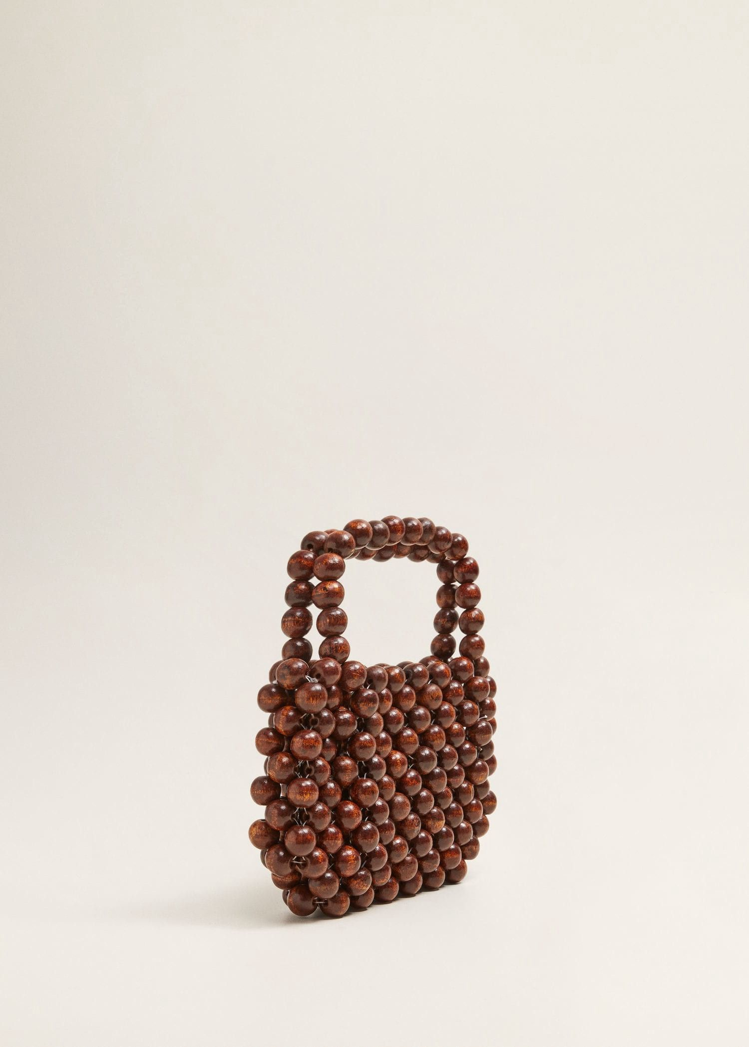 8d2ad5a25056 Mango Beaded Wood Handbag - Brown   Products in 2019   Beaded bags ...