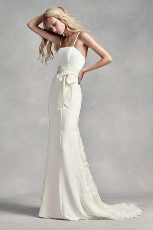 White by vera wang spaghetti strap wedding dress style vw351296 if you consider yourself a classic bride youll love this elegant gown crafted from crepe fabric this wedding dress features spaghetti straps solutioingenieria Choice Image