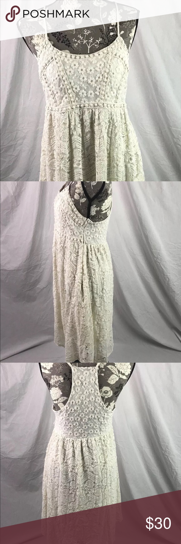 """Maurice's white lace overlay summer dress Maurice's women's lace overlay summer dress size Large. Adjustable spaghetti straps. Side zip closure.   Minimal wear.  Measures: 18"""" across chest  40"""" shoulder to hem Maurices Dresses Midi"""