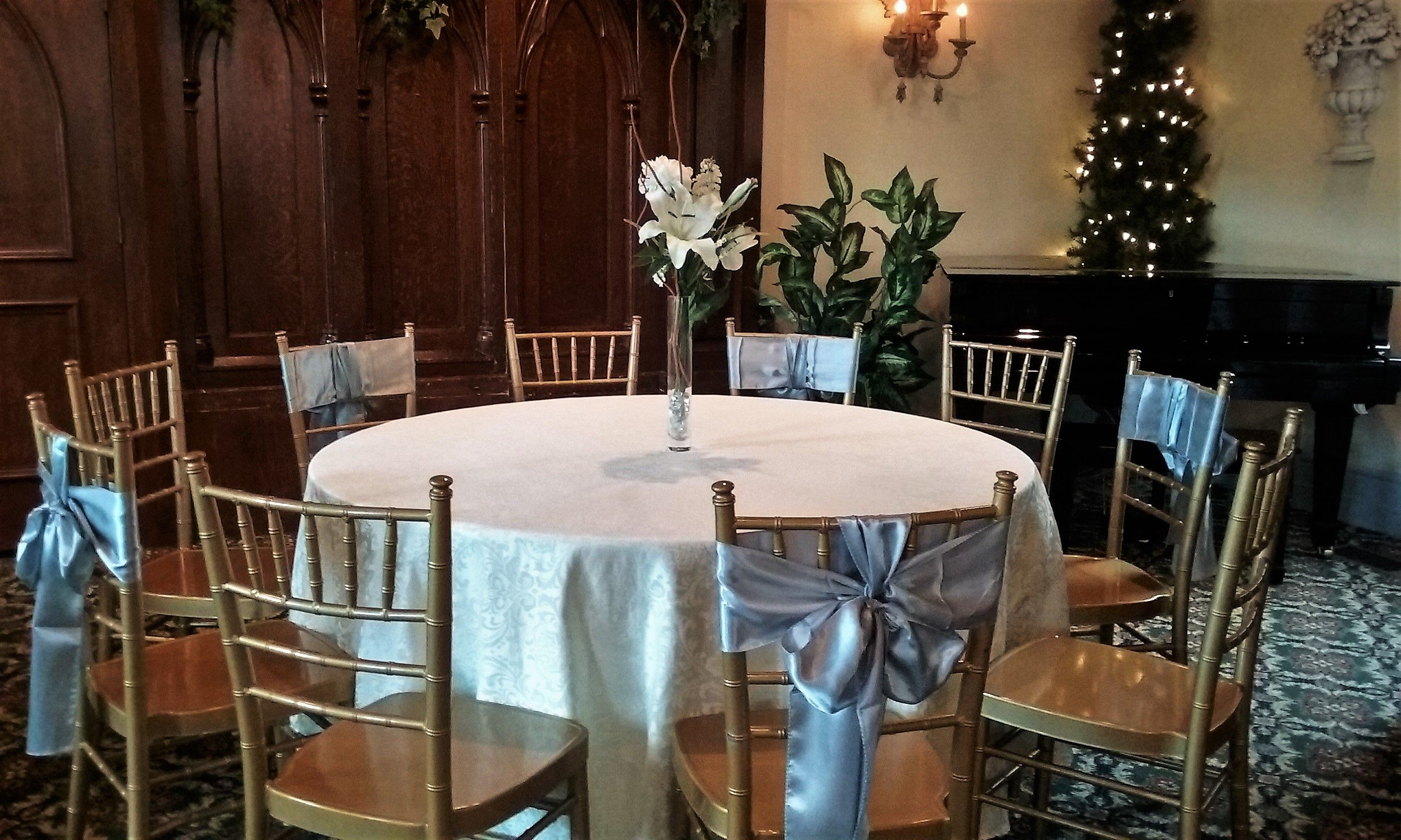 Chair ties add a little flair to any event Gold on silver looks