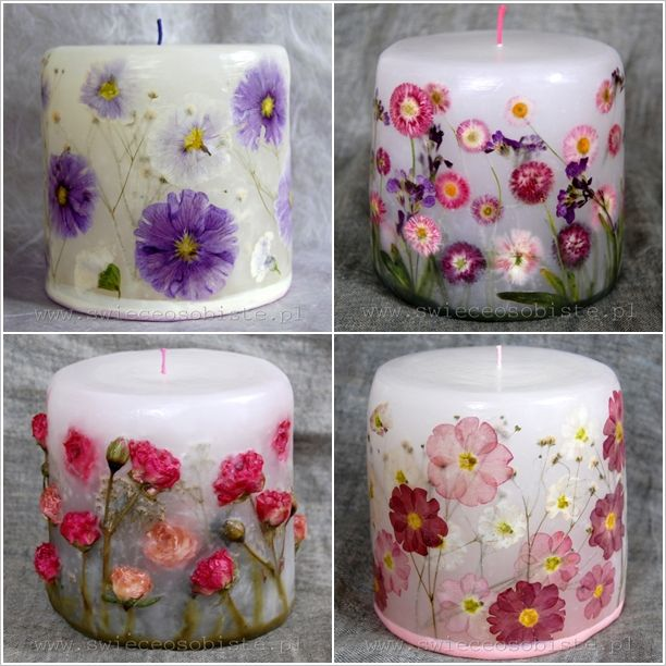 how amazing are these decoupage flower candles diy pinterest kerzen gie en diy kerzen und. Black Bedroom Furniture Sets. Home Design Ideas