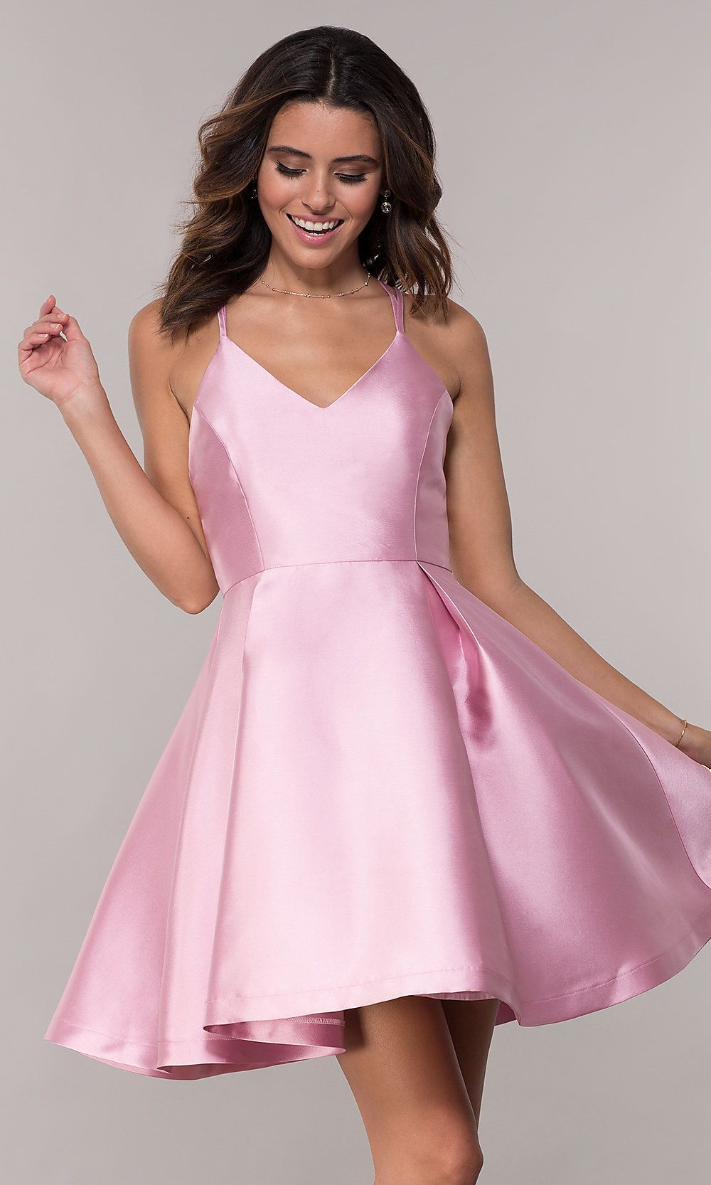 Fit And Flare V Neck Short Homecoming Dress Promgirl Girls Formal Dresses Dresses Homecoming Dresses [ 1666 x 1000 Pixel ]
