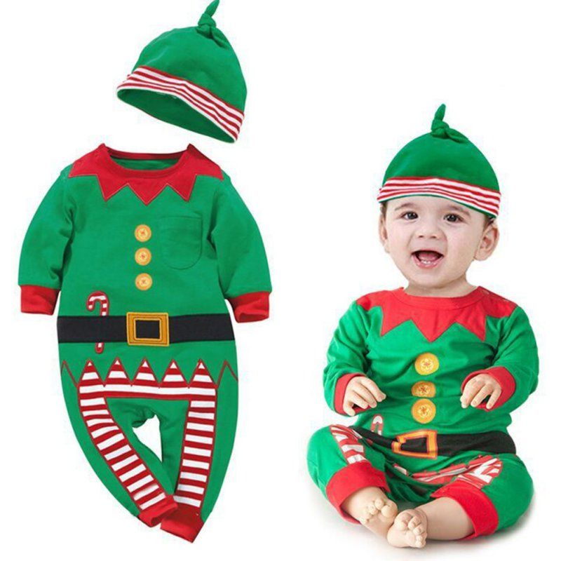 2df97c70a26f Baby suit Xmas long sleeve clothes set + hat. Newborn Baby Boy ...