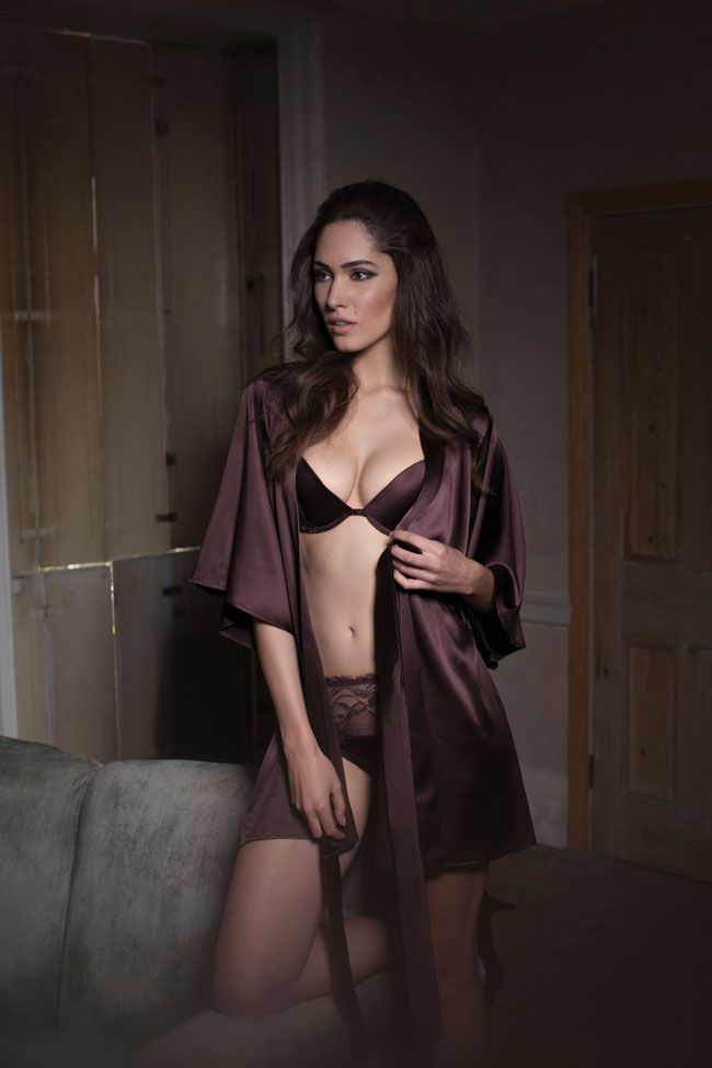 a911bba494c7 Fleur of England Hot Chocolate Silk Robe with Padded Plunge