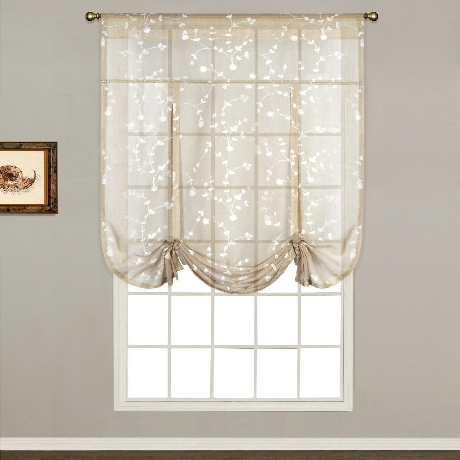 United curtain savannah tie up shade by inch taupe