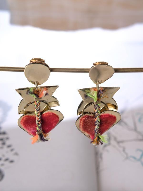 "The world always welcomes lovers, as you wear De Petra earrings. Clip-Ons Brass Velvet Cotton 3"" Long .02 lb each Hand made & design @ De Petra studio in Houston, TX the USA"