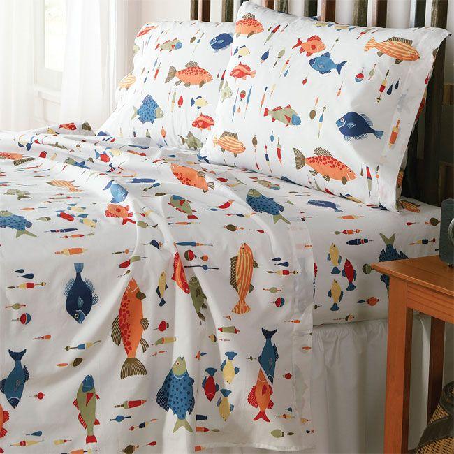 Fish N Bobber Sheet Set Duvet Cover And Sham Camping Bedroom