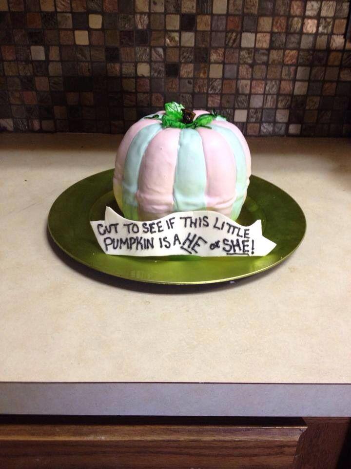 Gender Reveal Pumpkin Cake Halloween Gender Reveal Fall Gender Reveal Party Pumpkin Gender Reveal