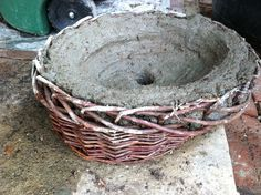 Try Making Your Hypertufa In A Basket Mold After The Mixture Sets Cut Off And L It Weave Leaves Great