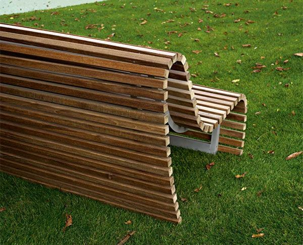 Outdoor Bench Seating modern outdoor wood bench by BB Italia