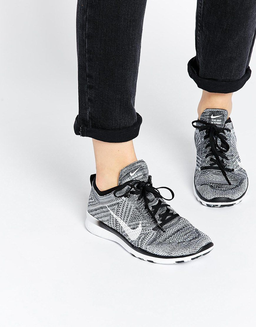 Image 1 of Nike Free TR Flyknit Black White & Grey Trainers