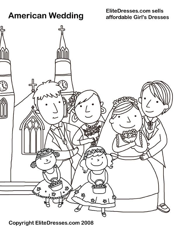 free printable wedding coloring pages - wedding party coloring page picture colour wedding