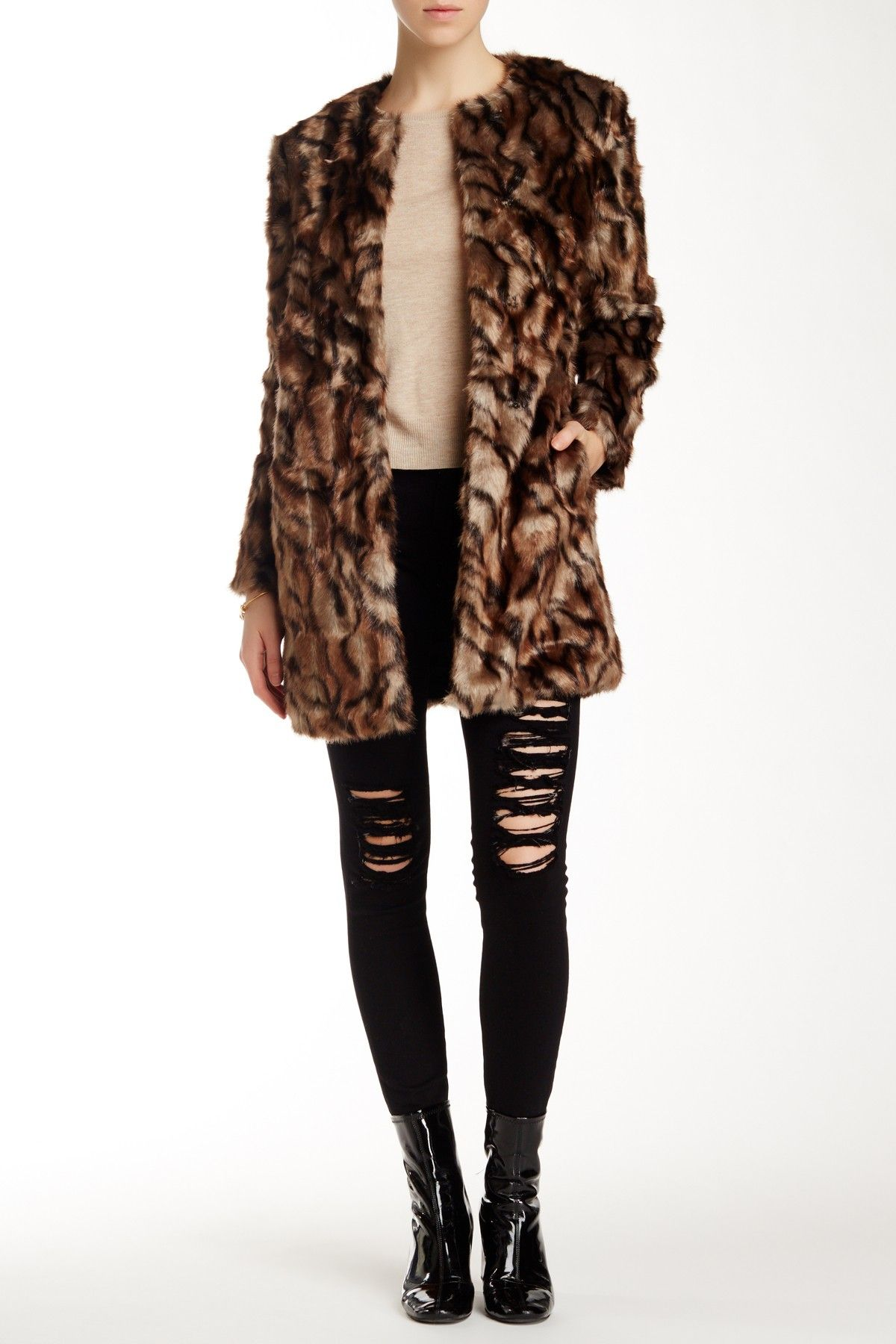 French Connection Tabby Faux Fur Coat Nordstrom Rack