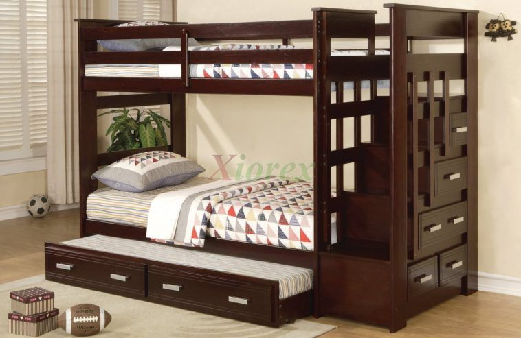 Dark Brown Polished Wooden Bunk Bed With Stair And Trundle Also Wooden Drawers Having Steel Handle On Lamina Bunk Beds With Stairs Twin Bunk Beds Bunk Bed Sets