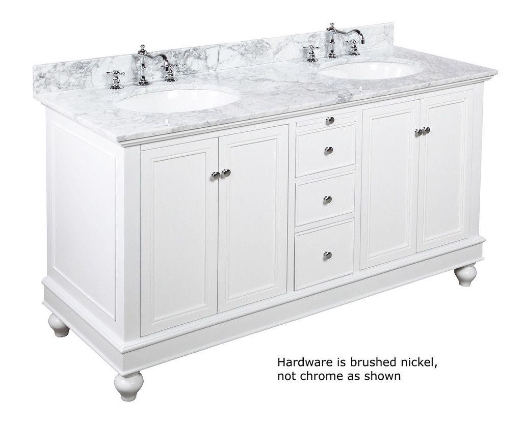 Bella 60 Inch Double Vanity With Carrara Marble Top Traditional Bathroom Vanity Marble Bathroom Vanity Traditional Bathroom