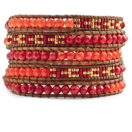 Red Coral Beaded Mix Wrap Bracelet on Natural Brown Leather - Chan Luu