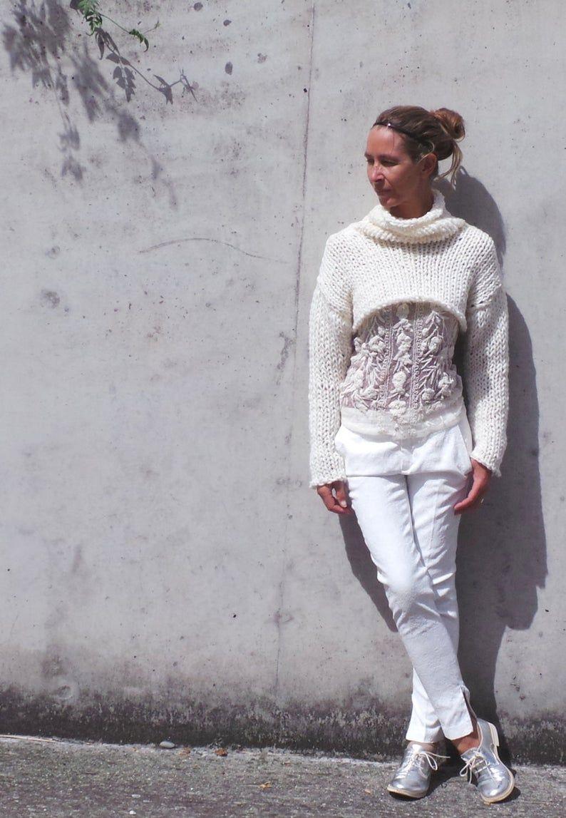 Elfenbein weiß Grobstrick Pullover, Pullover, Bolero, schlanke Passform oben, iLE AiYE Strickwaren abgeschnitten #shrugsweater